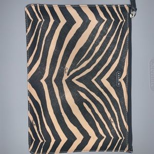 Coach brand small pouch in brown/tan zebra print